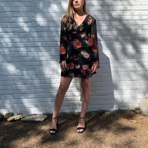 Lulus floral print sheer dress